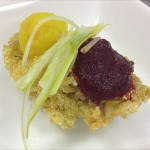 Panko-Cornmeal crusted Local Oysters, Roasted Beets Puree and Leek-Lime Mignonette