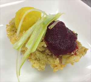 Panko- Cornmeal crusted Local Oysters, Roasted Beets Puree and Leek-Lime Mignonette