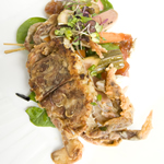 Fried Soft Shell Crabs with summer salad and pickled Vegetables
