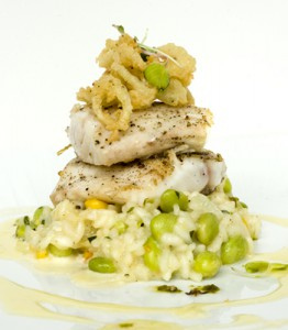 Seared Rockfish with Succotash Risotto