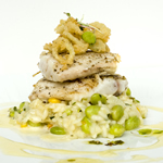 Seared Rockfish witg Succotash Rissotto